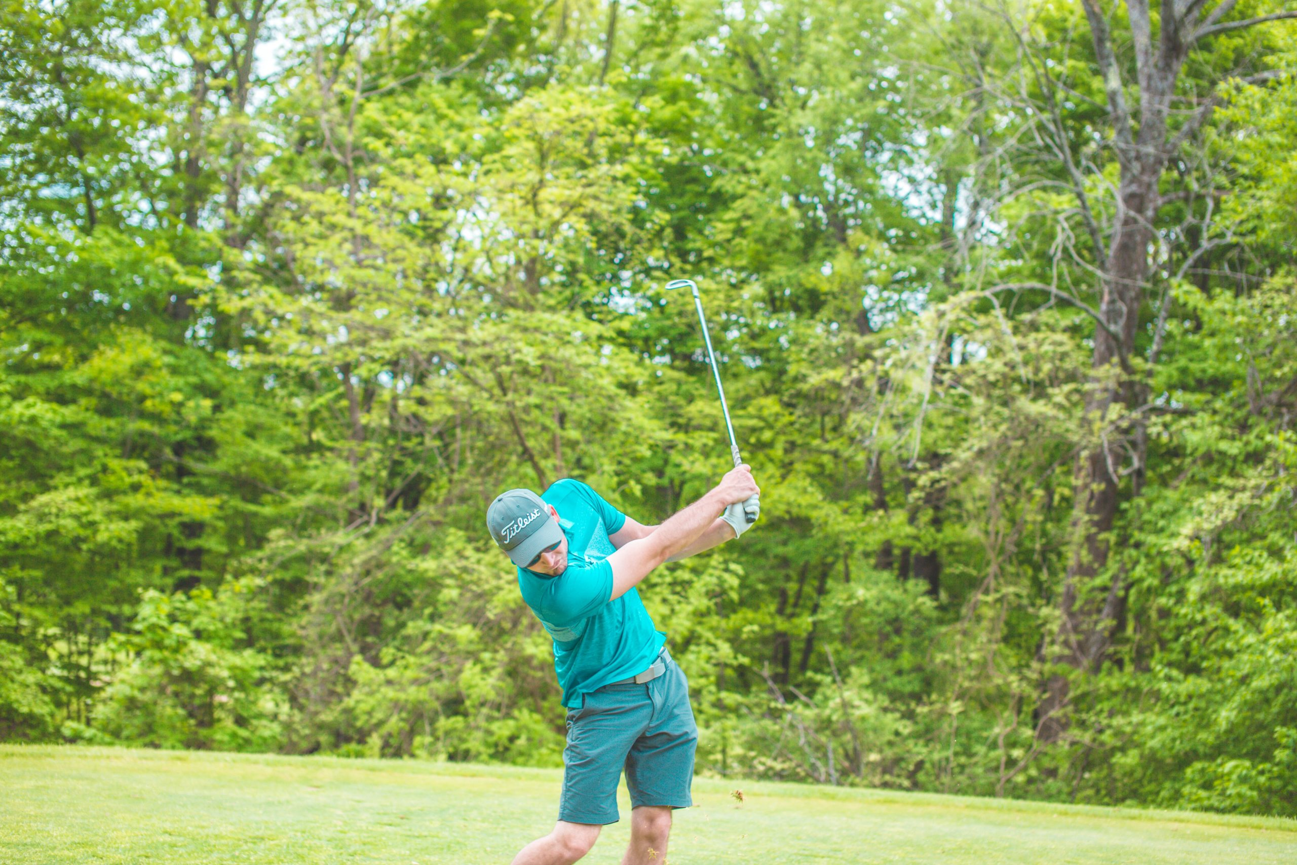 Golfer shanking his golf shot